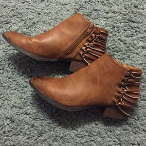 Shoes - Brown ankle booties with strappy heel